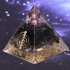 Image 2 - Geometrie Orgonite Piramide Muladhara Chakra Ossidiana Cristallo Naturale Labradorite Respingere Spiriti Maligni Decorazione Piramide