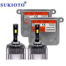 SUKIOTO D1S 1 Set Super Visão LED Farol Kit 6000K Branco Livre de Erros Canbus Do Carro LEVOU Luz Lâmpada Com d1S D3S Lastro Reactor
