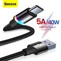Кабель Baseus USB Type C для Huawei Mate 30 20 P30 P20 Pro Lite 5A 40 Вт USBC Быстрая зарядка зарядное устройство USB-C кабель Type-C
