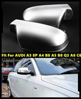 Side Mirror Caps Covers For AUDI A3 8P A4 B8 A5 B8 Q3 A6 C6 Matt Silver Chrome 2008 2012