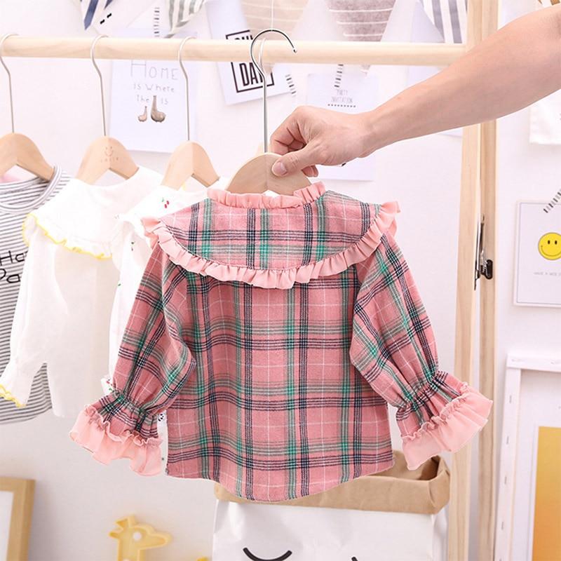 1-5T Girls Pink Blouse Shirt Spring Autumn Baby Girls Plaid Children Tops Bottoming Shirt Long-Sleeve Kids Girls Shirt Clothing 2