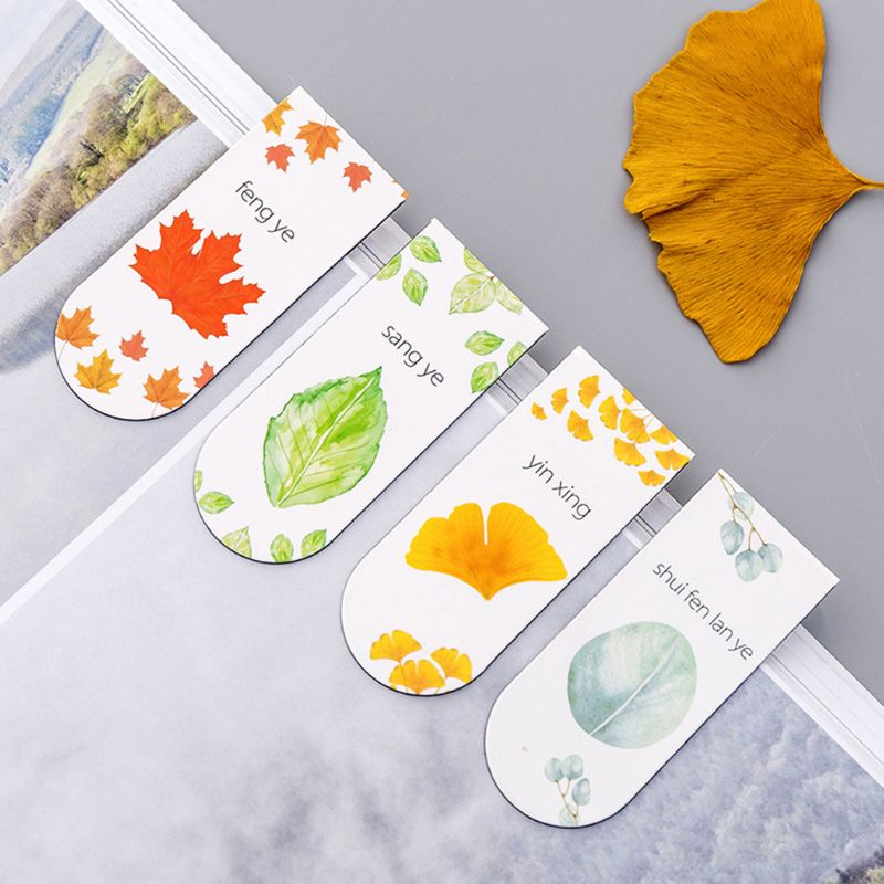 4pcs/set Autumn Leaf Simple Plant Magnetic Bookmark Book Marker Page Clip Office Supplies Student Stationery Souvenir Collection