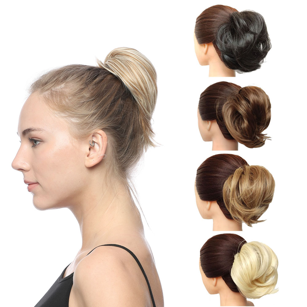 Jeedou Synthetic Tousled Hair Donut Chignon Hair Extensions 30g Hair Bun Pad Rubber Band Hairpieces Real Natural Elegant Updos
