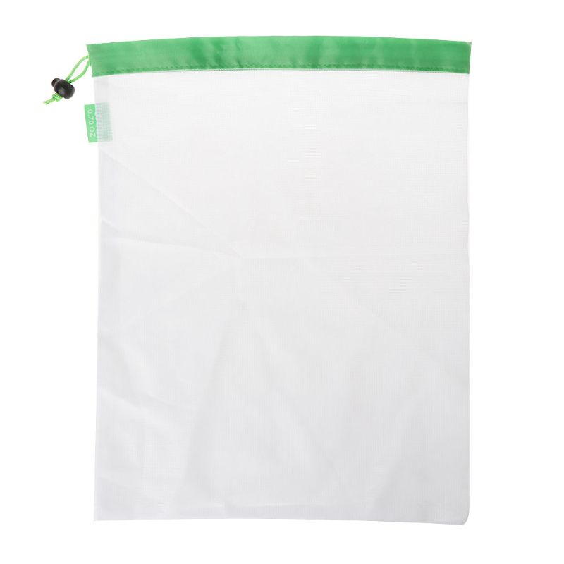 Reusable Mesh Rope Drawstring Bag Organizer For Vegetable Fruit Toys Storage Grocery Shopping Pouch X4YB
