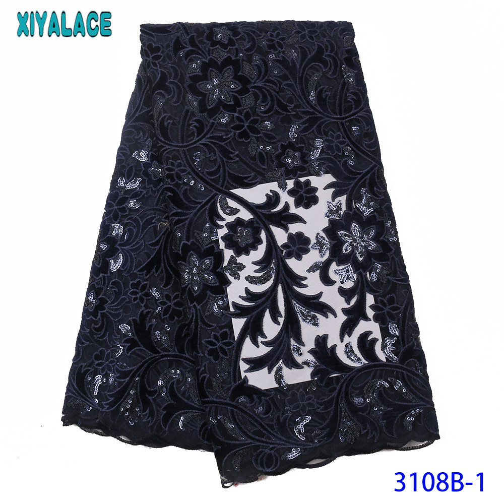 Latest Nigerian French Tulle Lace Velvet Lace Fabric  With Sequin For Dresses High Quality African Sequence Lace Fabric KS3108B