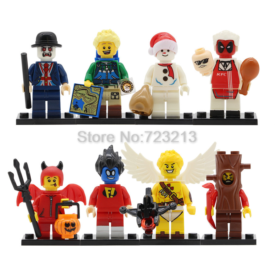 Single Sale Pumping Hiker Snowman Vampire Leicester Figure Treeman Devil Cupid Building Blocks Set Model Kits Bricks Toy Legoing