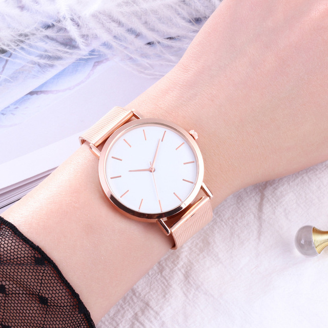 Fashion Women Watches Simple Romantic Rose Gold Watch 3