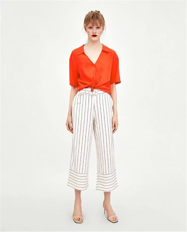 Western Style Summer Wear New Style Stripes Casual Loose-Fit High-waisted Pure Cotton Loose   Pants   Skirt   Capri     Pants   WOMEN'S Dres