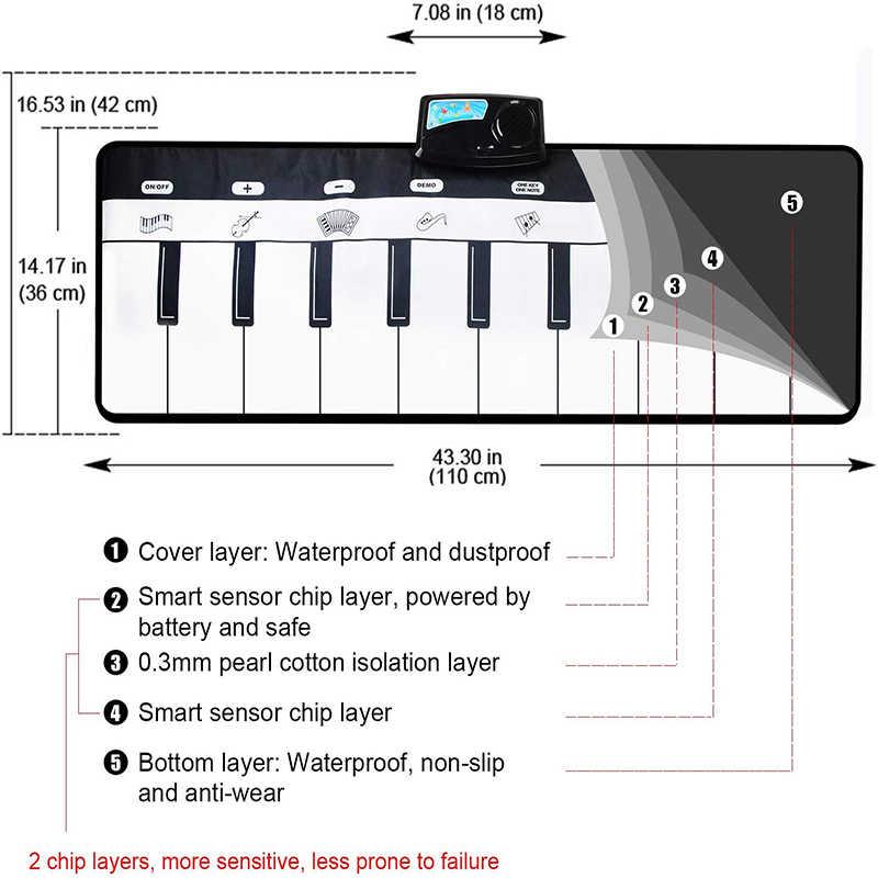 110X36 Cm Elektronik Musik Mat Karpet Keyboard Piano Bermain Mat Mainan Alat Musik Musik Mainan Pendidikan Mainan untuk Anak-anak