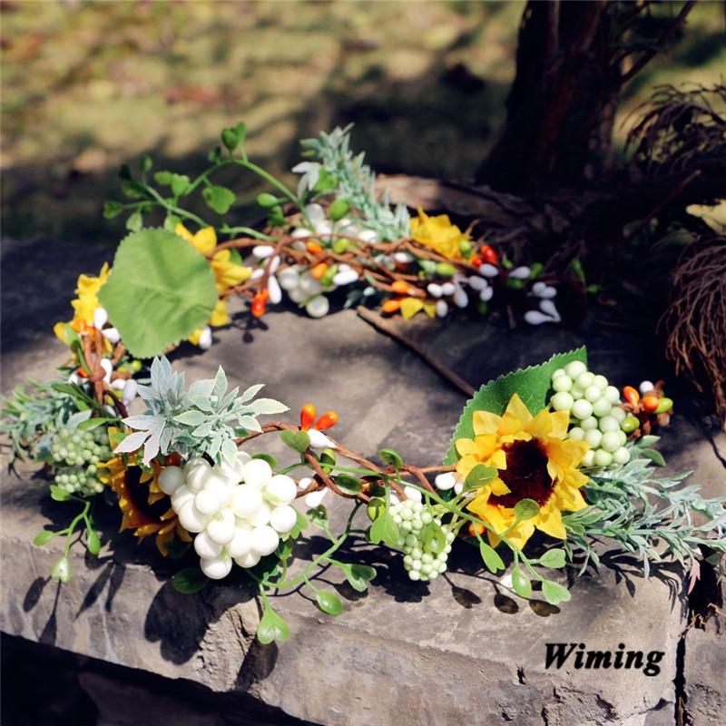 rattan Simulation Flower Headband for Women Girls photo props Beach Wedding party decoration cute bridal headband