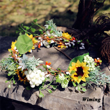 rattan Simulation Flower Headband for Women Girls photo props Beach Wedding party decoration cute bridal headband