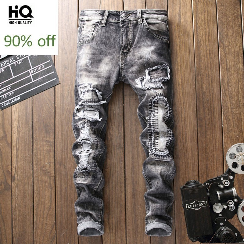 Male New Fashion 2020 Spring Pencil Pants Biker Jeans Men Full Length Trousers Male Classic Hole Ripped Jean For Mens