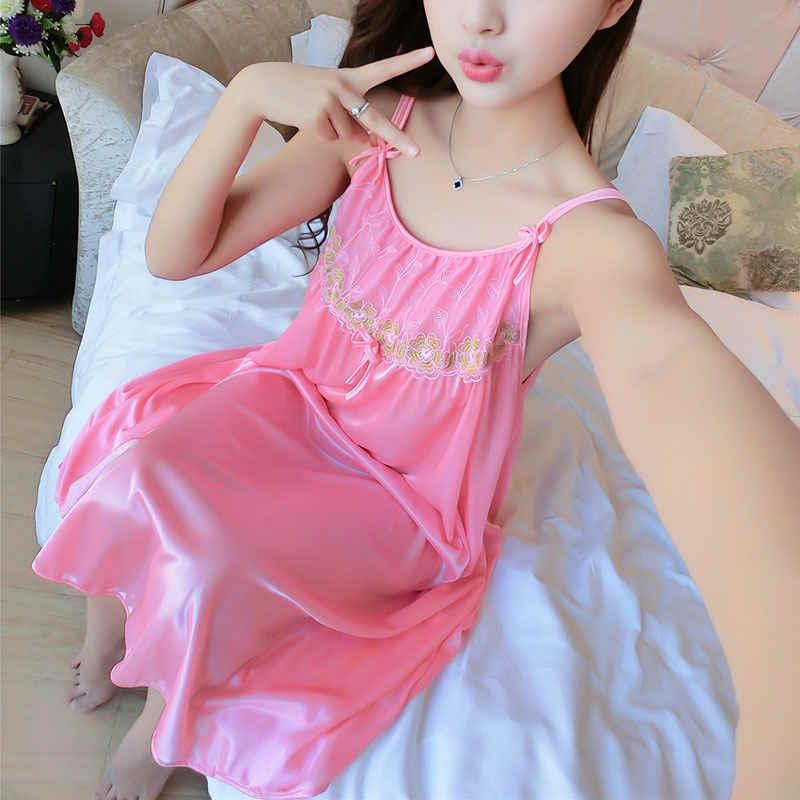 Perspectiva mujer Sexy ropa de dormir Mujer talla grande ropa de dormir satén hielo vestido de noche señoras ropa de noche Sexy camisón #33