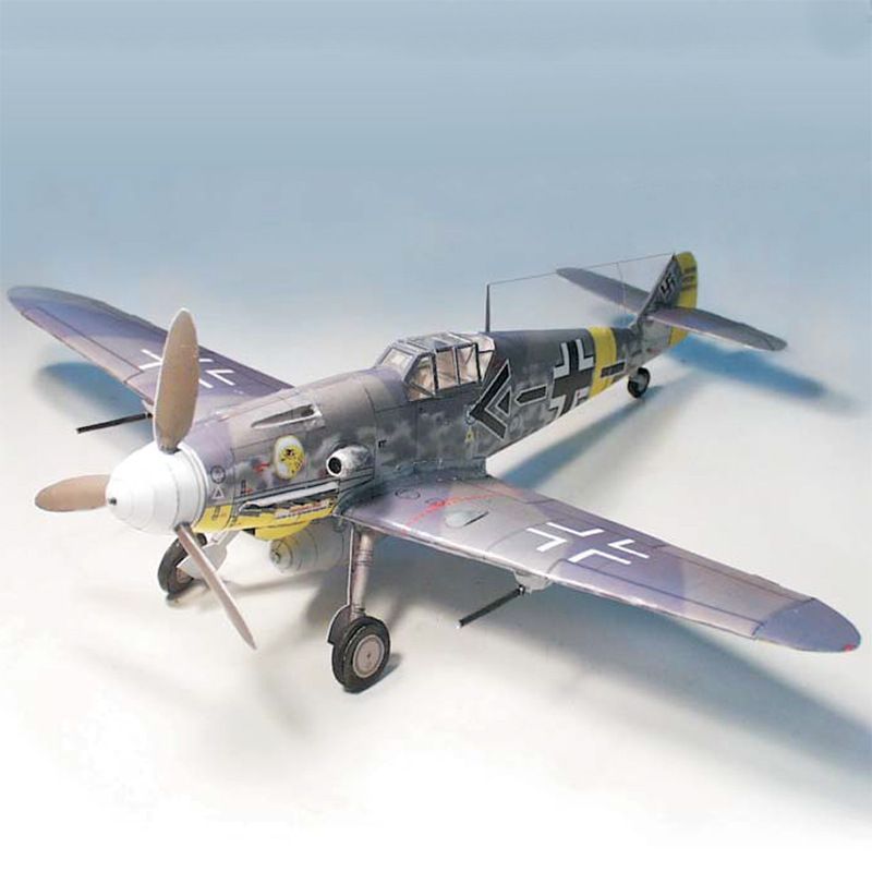 German Fighter Messerschmitt Bf-109 DIY 3D Paper Card Model Building Sets Construction Toys Educational Toys Military Model