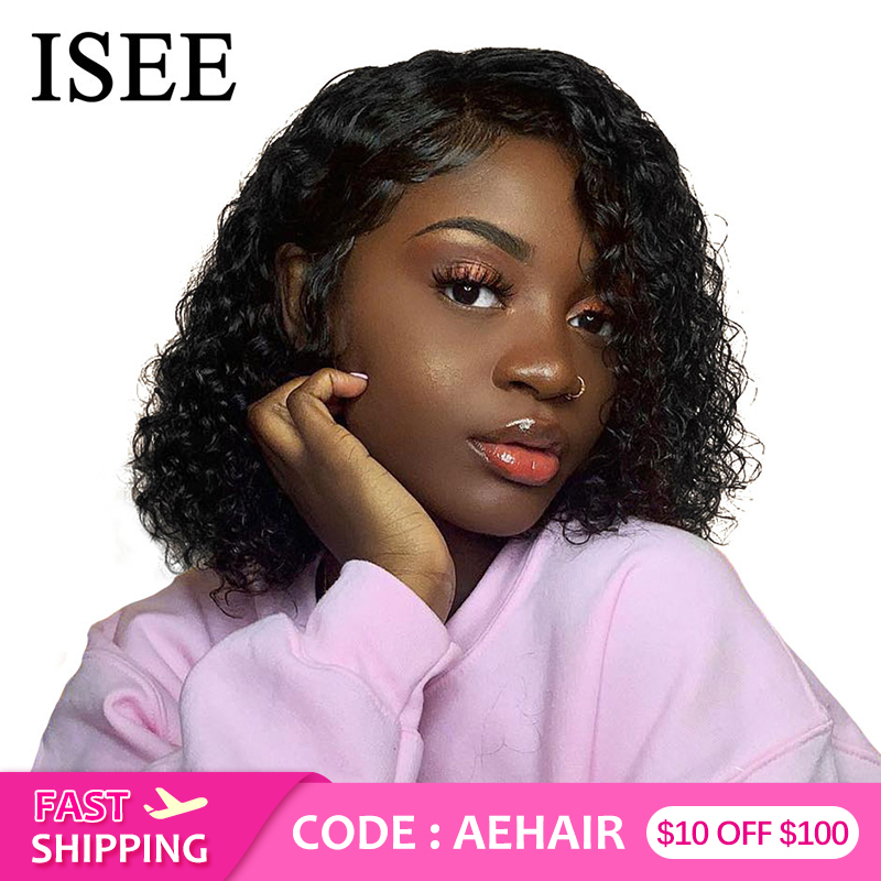 ISEE HAIR Water 360 Lace Frontal Wig Bob Lace Front Human Hair Wigs For Women Brazilian Water Wave Full Lace Human Hair Wigs