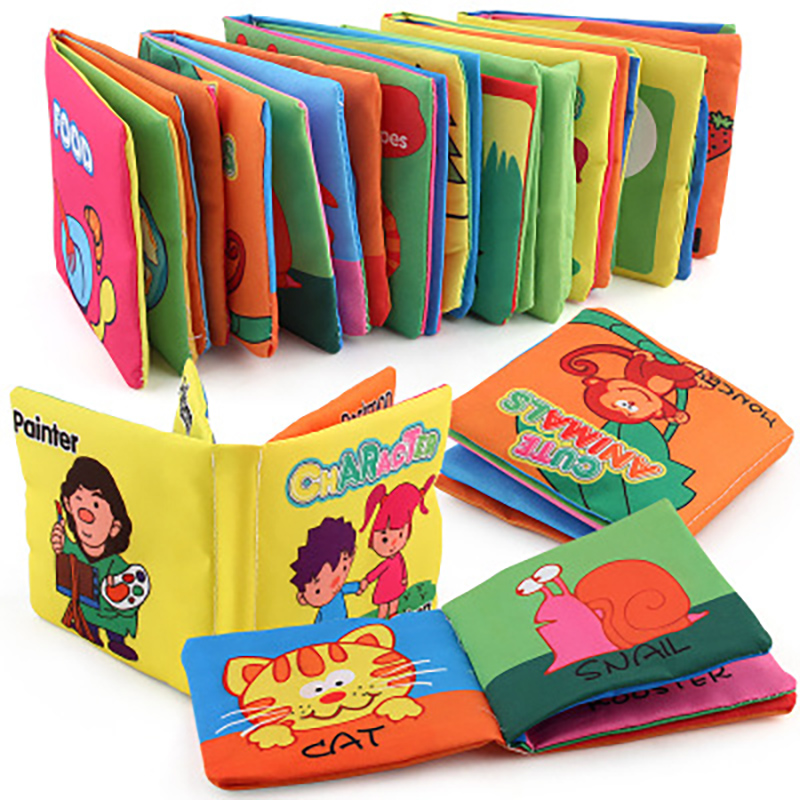 Infant Early Childhood Teaching Cloth Book Toy Not Torn Do Not Fade English Animal Digital Cognition Baby Cloth Book