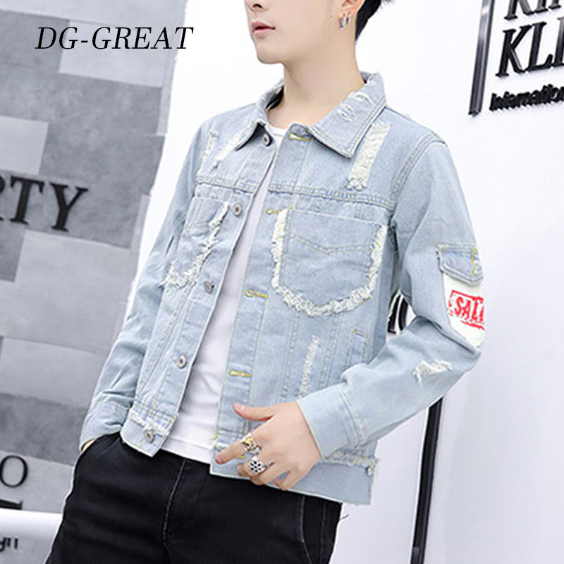 Jeans Jacket Coat Male Autumn Fashion And Slim-Fit Casual M-3XL