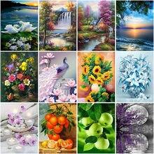 Diy flower 5d diamond painting full square drill mosaic landscape