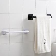 Modern Plastic Towel Rod Punch-free Black Square Long Single Bath Holders Slippers Cloth Wall Mount Storage Shelf Bathroom