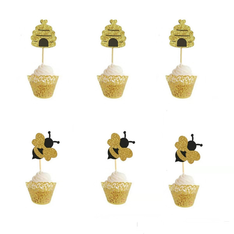 12Pcs Baby Shower Decorations Cute <font><b>Bee</b></font> Cupcake Cake Topper Birthday <font><b>Party</b></font> Cake decoration tools DIY Honeybee Dessert <font><b>Supplies</b></font>-S image