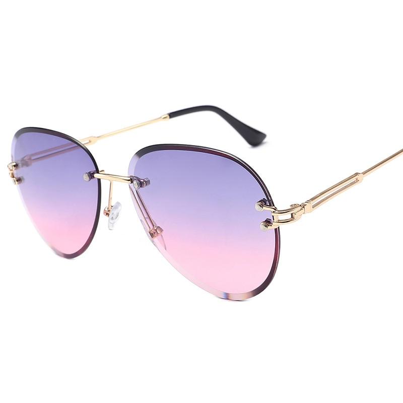 Модные синие солнцезащитные очки без оправы для женщин 2020 UV400 роскошные женские солнцезащитные очки-авиаторы женские солнцезащитные очки с...