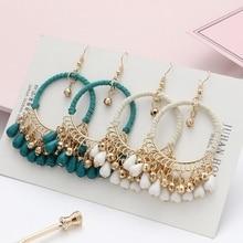 Boho Vintage Beads Tassel Wedding Earrings Indian Jhumka Ethnic Gold Color Round Drop Earrings Brincos Jewelry