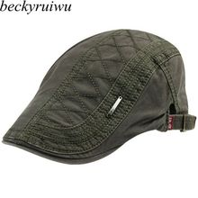 Male Spring Summer Outdoors Pure Cotton Peaked Cap Men Casual Flat Beret Hats Wo