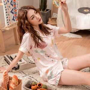 Image 4 - Conjunto de Pijamas cortos de primavera y verano para mujer, camisas de manga corta con pantalones, traje para casa, ropa femenina para mujer, pijamas sexis