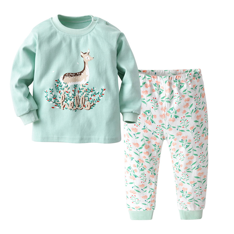 SAILEROAD Children Cartoon Deer Pajamas For Girls Cute Animals Pajamas Kids Pijama Infantil Baby Home Wear Boy Sleepwear Clothes