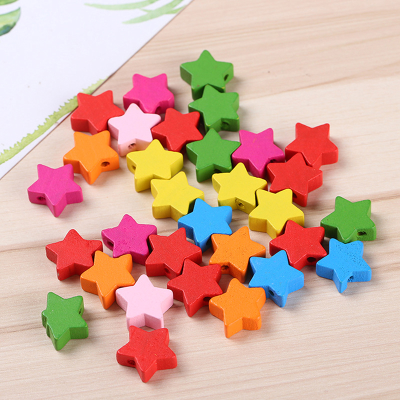 100pcs Children Educational Toys Wooden Stars Shaped Cartoon Multicolor Beads Handmade Accessoriess For DIY Craft Jewelry Making