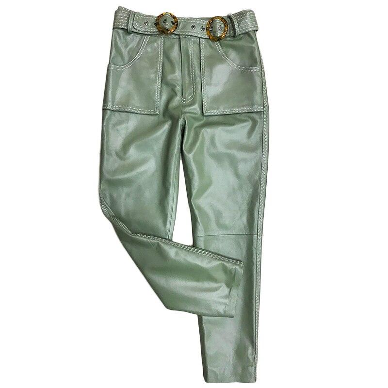 XS-3XL couleur pure pantalon en cuir véritable pantalon en peau de mouton femme haute wasit noir était mince flare pantalon en cuir véritable avec ceinture F836