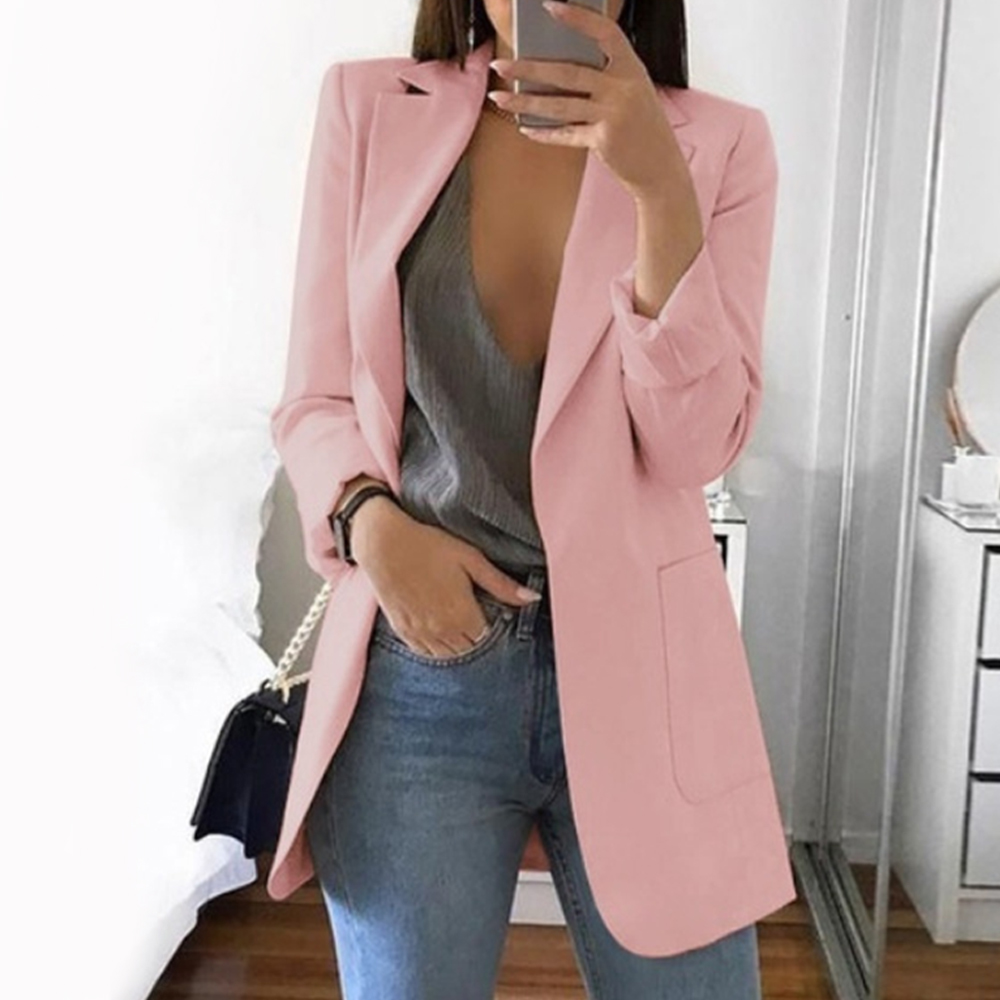 New Women Slim Casual Solid Blazer Long Elegant Business Blazers Coat Ladies Spring Autumn Suit Cotton Notched
