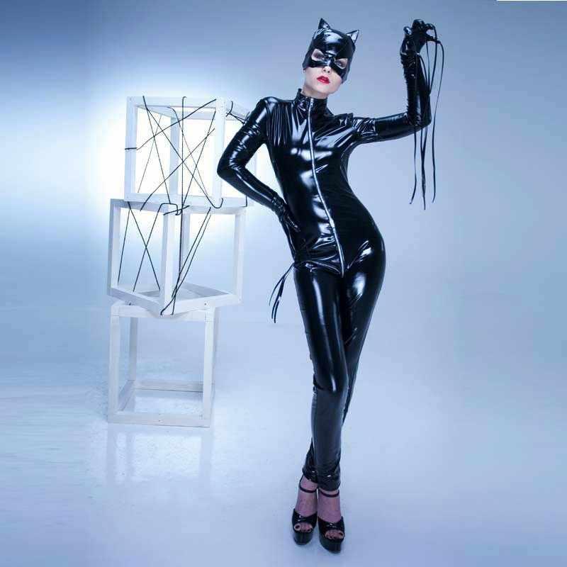 Zwart Rood Vrouwen Super Hero Catwomen Faux Lederen Catsuit Open Kruis Latex Jumpsuit Vrouwen Cosplay Kostuum Met Handschoenen En Masker
