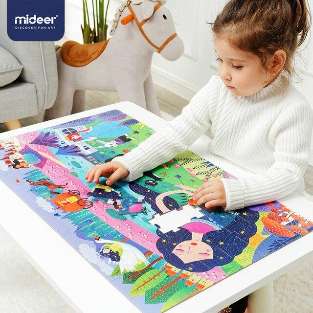 Mideer 104個の子供のジグソーパズルパズルのおもちゃ赤ちゃんの知的パズルコンビネーション紙子供のギフトパズルボックス3 6Y