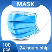 5/100PCS Disposable  Mask 3 Layers Dustproof Facial Protective Cover Masks Maldehyde Prevent Anti-pollution face Masks