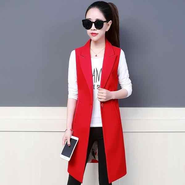 Women Suit Vest Black Coat New product Spring Autumn Women clothing Fashion Long section Slim Women red black Jacket AE968