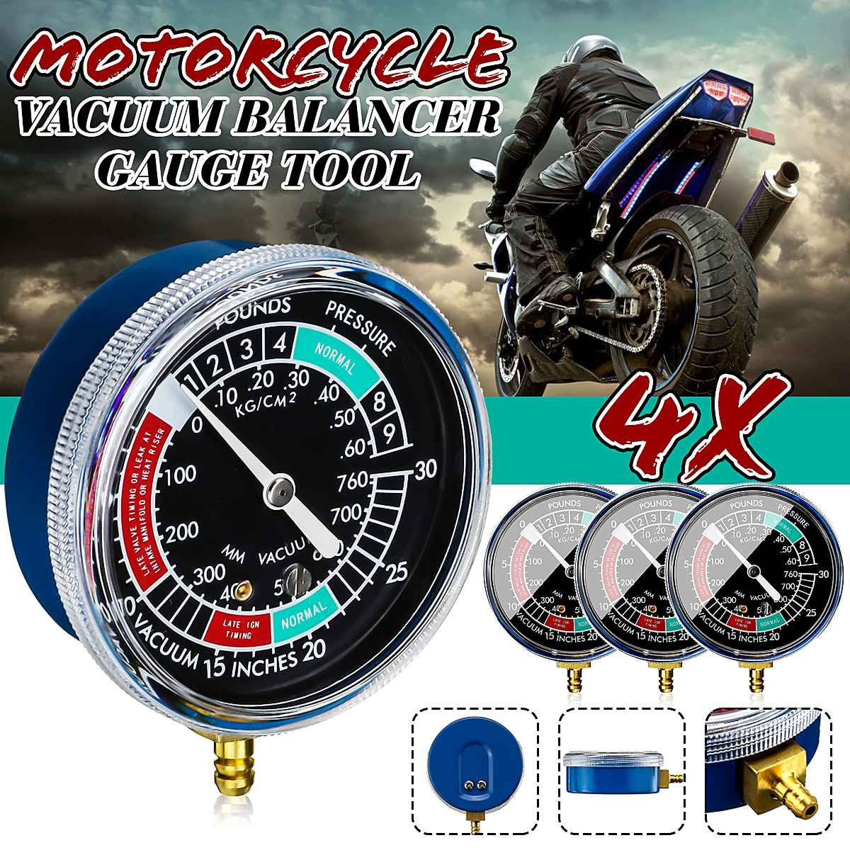 Synchroniseur universel d'équilibrage de carburateur de carburateur de moto pour Yamaha/Honda/Suzuki