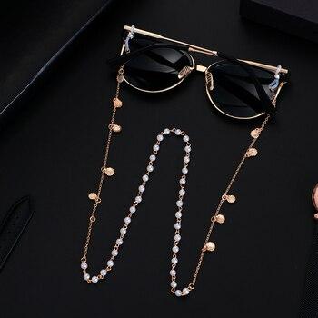 70cm cadenas de gafas de sol perlas diamantes de imitación cuerda para anteojos soporte cordón collar gafas cuentas correa de cuello cuerda estrella de mar cáscara
