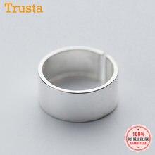Trusta-Anillo de 100% Plata de Ley 925 auténtico para mujer y niña, sortija abierta con superficie lisa, joyería de boda, regalo DS2237