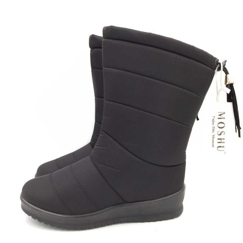 ฤดูหนาวรองเท้าบู๊ทกลางลูกวัวลงรองเท้ากันน้ำหญิงสุภาพสตรีรองเท้าบู๊ทหิมะฤดูหนาวรองเท้าผู้หญิง Plush พื้นรองเท้า Botas mujer