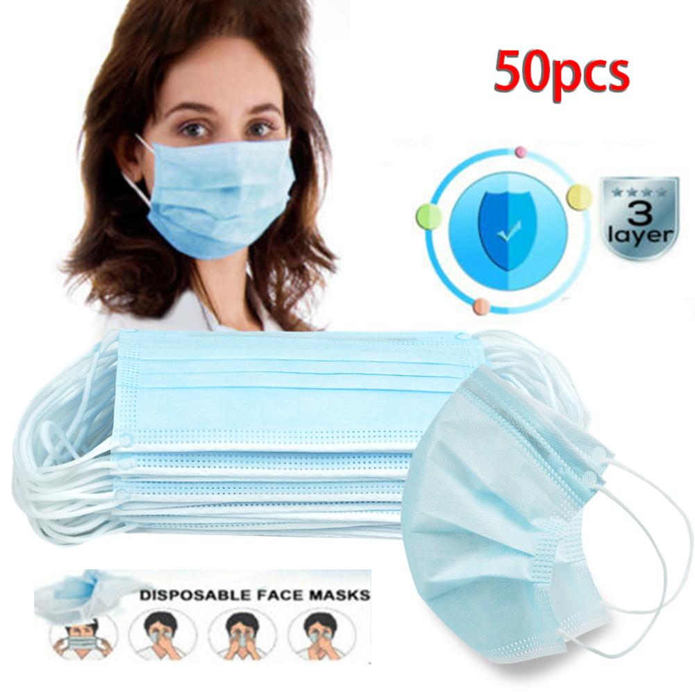 Universal Blue 50PCS 3 Layers Disposable Mouth Covers Non-Woven Anti-Dust Face Covers  To Block Dust Smoke Pollen Dustproof