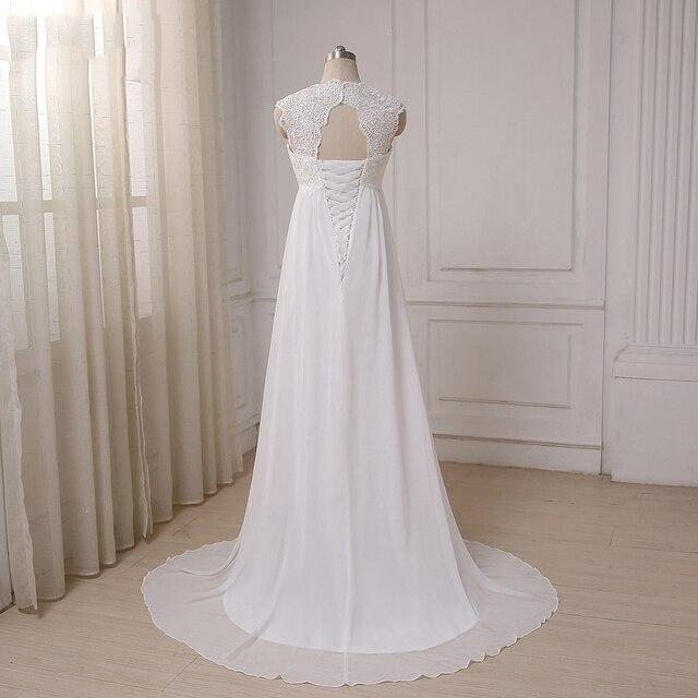 Cheap Beach Wedding Dresses Vestido De Noiva Cap Sleeve Sweetheart Empire Chiffon Bridal dress Lace Pregnant Weding Dress 2