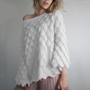 Flare Sleeve Feather Knitted Sweater Women Loose Casual Thin Pullovers Spring Autumn Slash Neck Perspective Tops goplus women s knitted sweater o neck autumn pullovers loose flare sleeve colorful striped pullover coat kleding vrouwen c9503