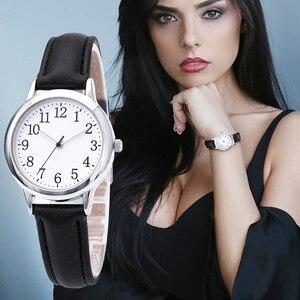 Image 2 - Japão movimento de quartzo números árabes fácil leitura correias de couro senhora relógio feminino cor doces simples dial watch