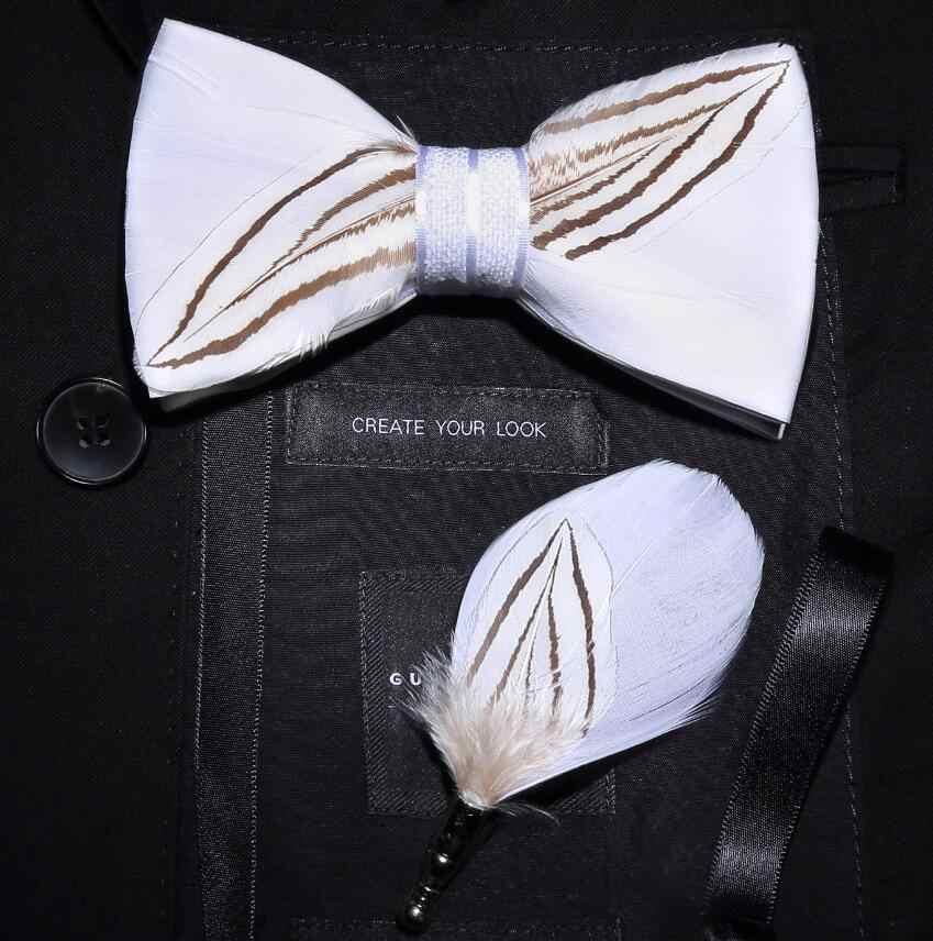 Ricnais Del Progettista di Marca Mens Della Piuma di Modo del Legame di Arco Spilla Set Regolabile Formale Tie Cravatta a farfalla di Cerimonia Nuziale Del Partito con il Contenitore di Regalo