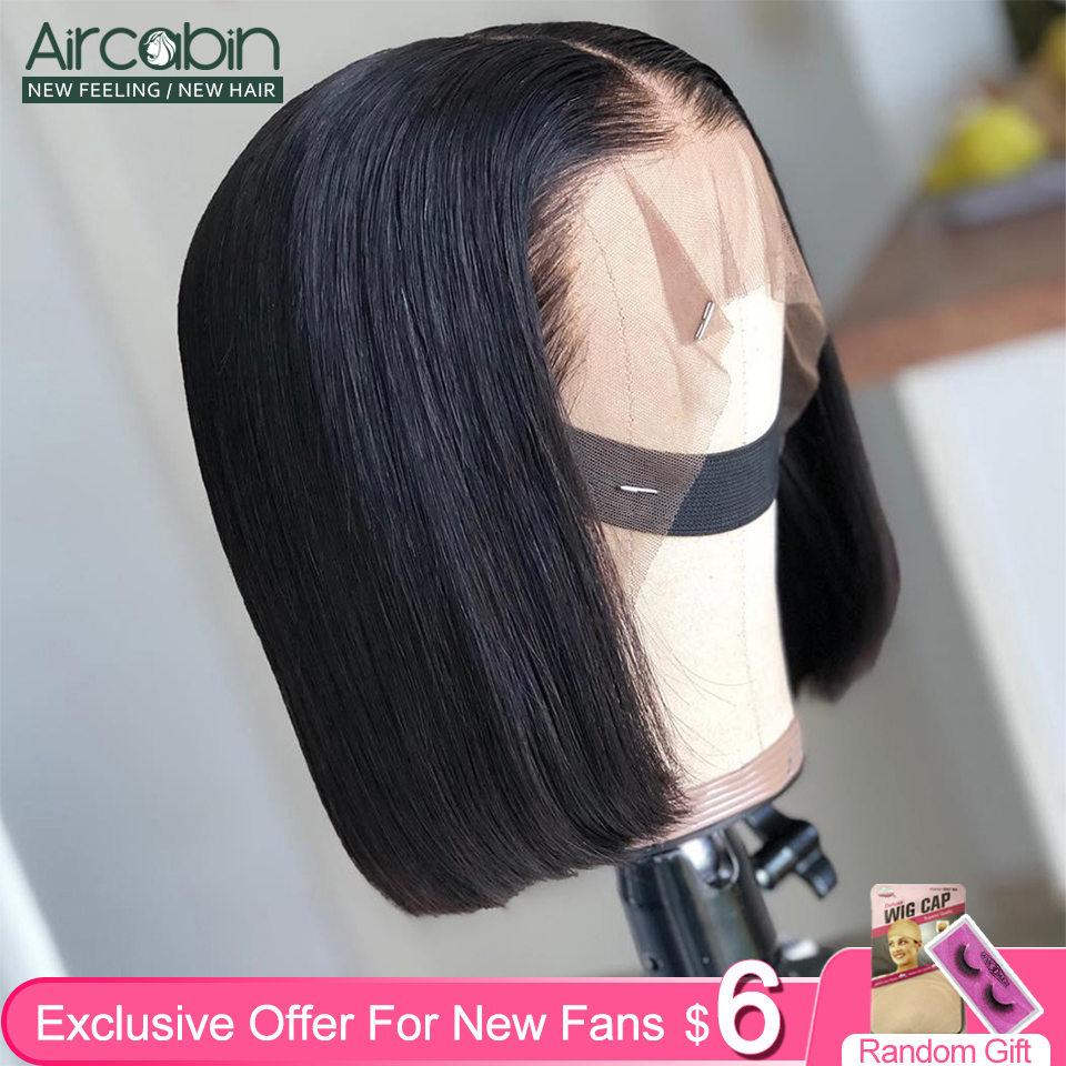 Glueless 13x4 Lace Front Wigs Brazilian Hair Bob Wigs Human Hair For Black Women 13x6 Lace Deep Middle Part Bob Wigs Non-Remy