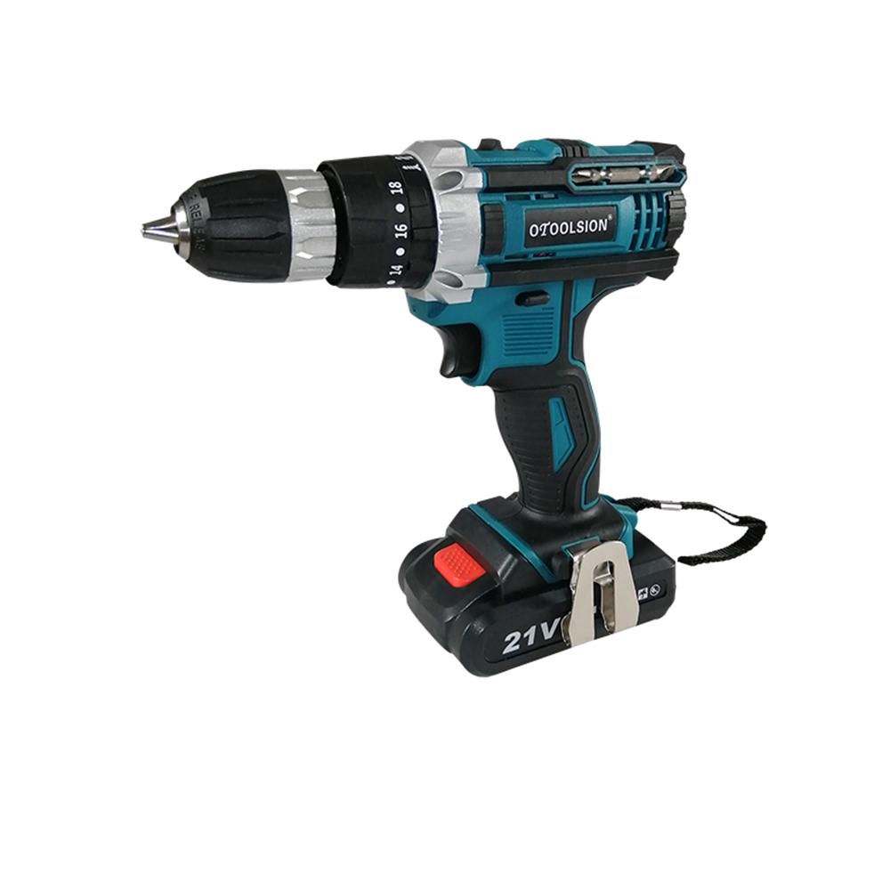 21V 18+3 Torque Impact Drill Cordless Screwdriver Power Tools Screwdriver Impact Hammer Drill Screwdriver With PlasticTool Box03