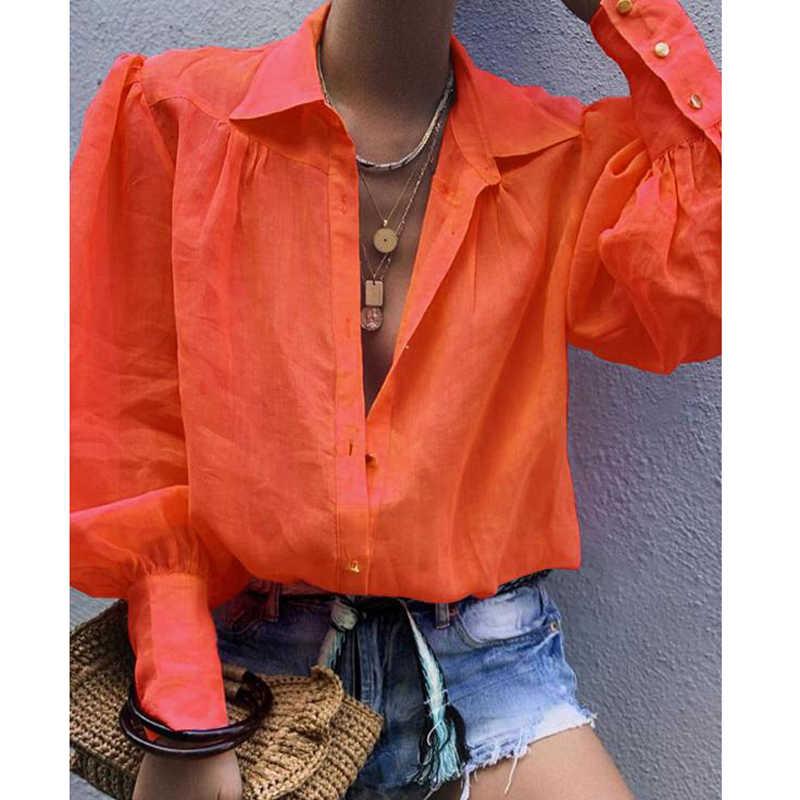 Fanbety/2019 Осенняя женская блузка с зазубренным воротником, верхняя блуза с длинными рукавами и пуговицами, элегантные сексуальные офисные блузки