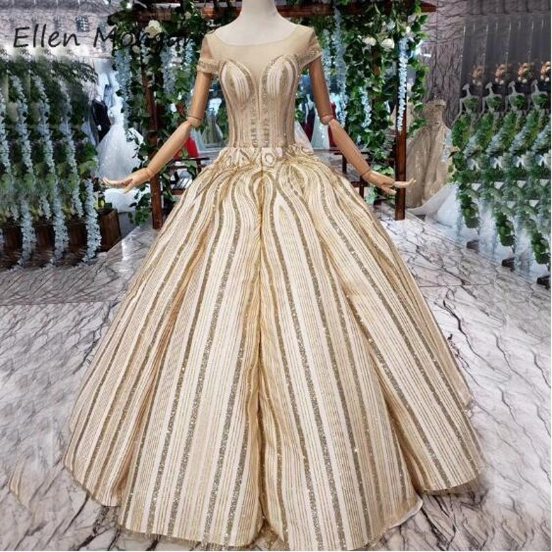 Glitter Gold Striped Ball Gowns   Prom     Dresses   Elegant 2019 Sheer Boat Neck Lace up Floor Length Quinceanera Pageant For Miss