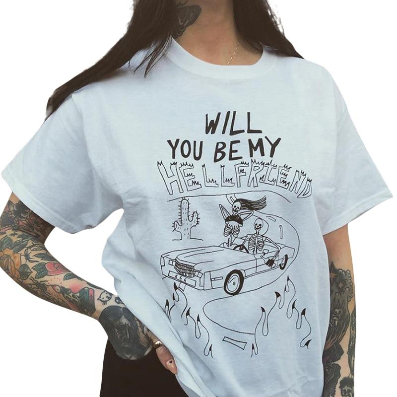 Goth Dark Aesthetic White Print T-shirts Female Gothic Loose Summer 2019 Harajuku Streetwear T-shirt Women O-neck Fashion(China)